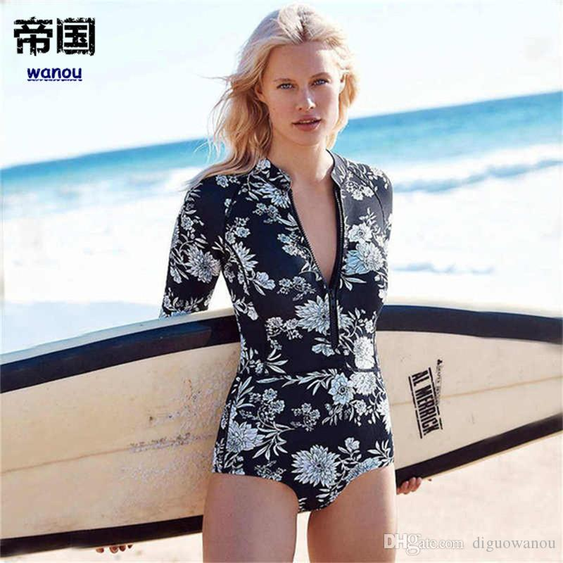 Stylish Long Sleeves Rash Guard Women Sexy Surf Swimwear Floral One Piece Swimsuit Surfing Clothing High Neck Diving Wetsuits Leaf Print