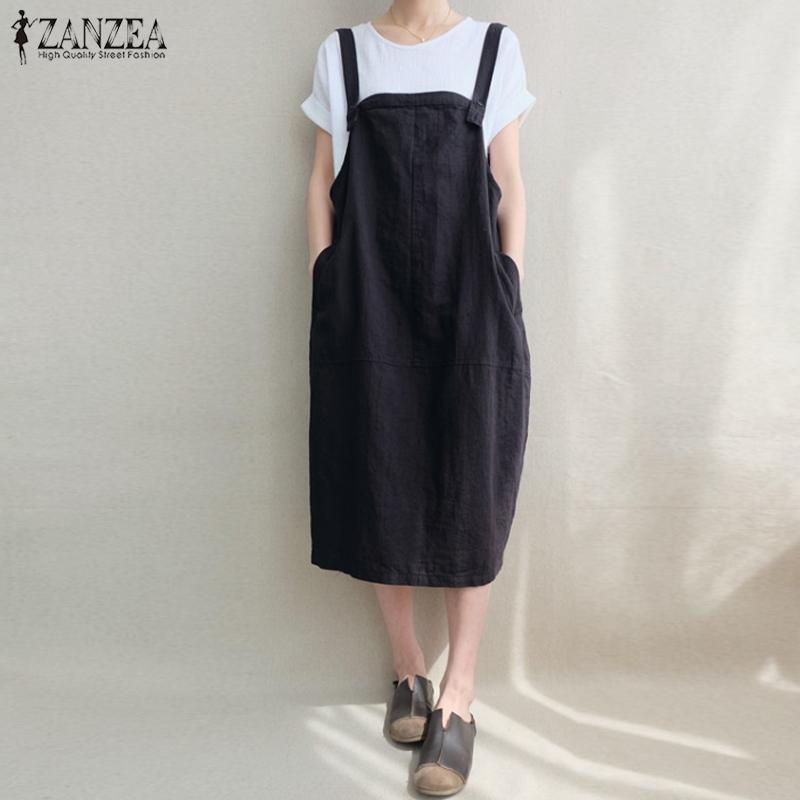 6d5e85cae74a7 Zanzea Women Kaftan Sleeveless Bib Solid Cotton Linen Suspenders Vestido  Vintage Casual Loose Pockets Overalls Dress Q190521
