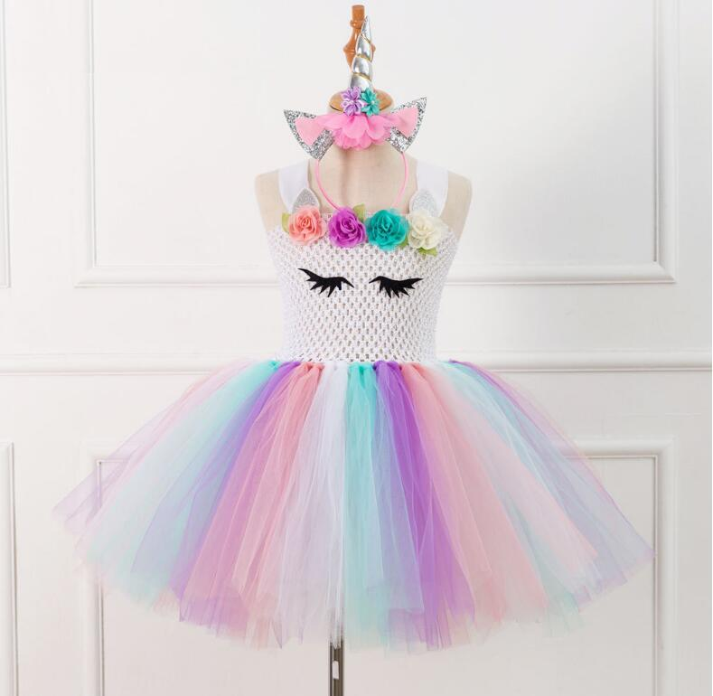 c5e0a479756ee Girls Tutu Dress Fancy Rainbow Princess Unicorn Dress With Headband  Christmas Halloween Costume Kids Girl Party Dress
