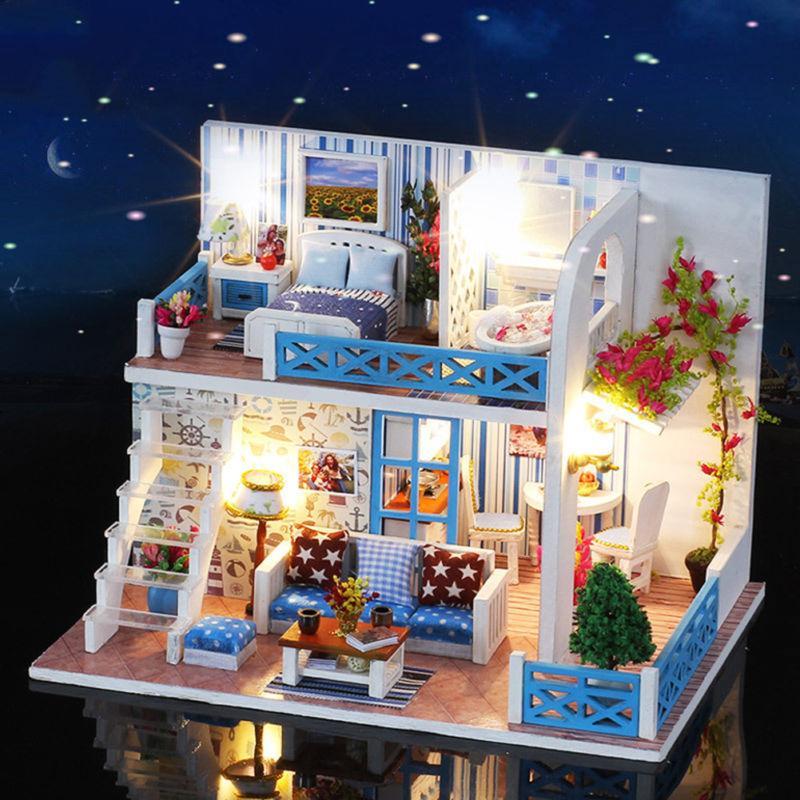 Großhandel Für Zimmer Bunte Miniatur DIY Puppenhaus W / Licht ...