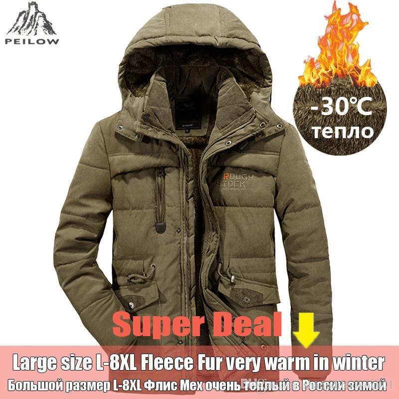 da545dd0b67 PEILOW Winter Jacket Men Plus Size 5XL 6XL 7XL 8XL Thicken Warm Cotton  Padded Jackets Fur Hooded Windbreaker Men S Parka Coat Hockey Columbus Ohio  Jackets ...