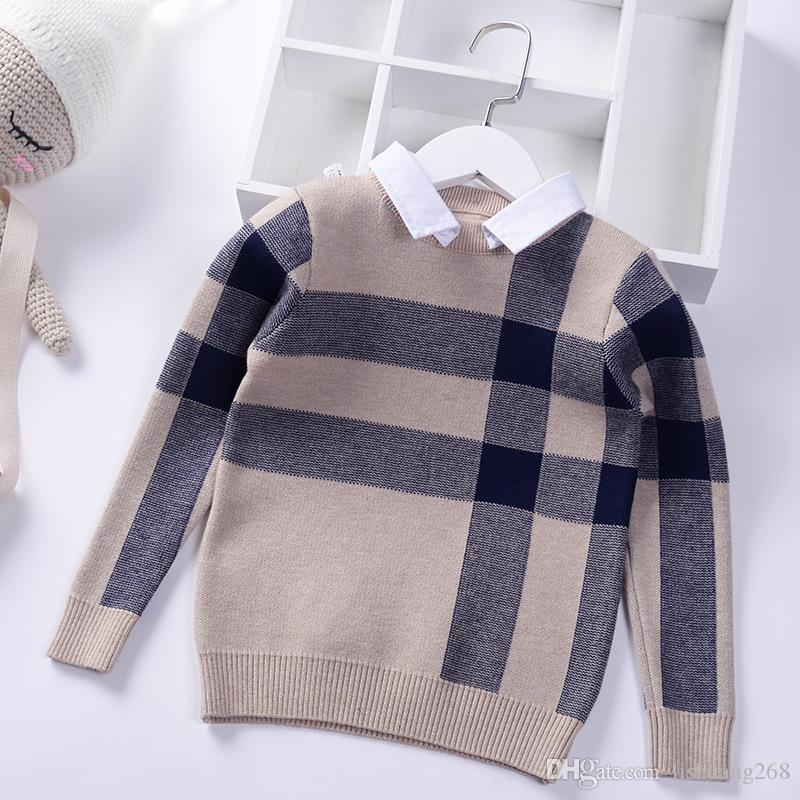 2019 Shirt Collar Boy Sweaters Baby Classic British Plaid Pullover