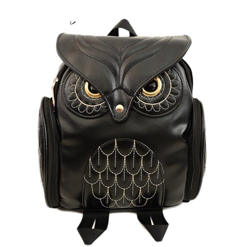 Good Quality Fashion Women Backpack 2019 Newest Stylish Cool Black Pu  Leather Owl Backpack Female Hot Sale Women Shoulder Bag School Leather  Backpacks One ... 287359c10b504