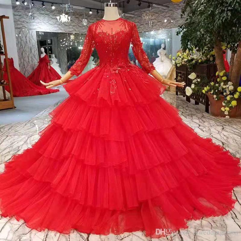 eebbe72b9c 2019 Cake Style Red Evening Dresses O Neck Long Sleeves Multi Layers Skirt Party  Prom Dresses Long Ball Gown New Fashion Design Saudi Arabia Black Tie ...