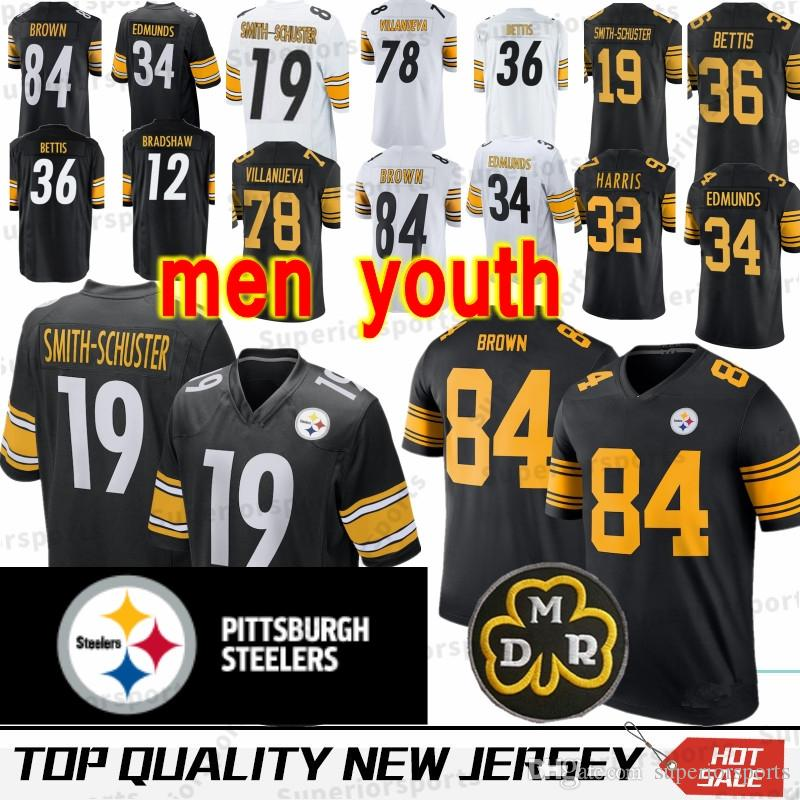 1515303a5 2019 84 Antonio Brown Pittsburgh Steeler Jersey 19 Juju Smith 78 Alejandro  Villanueva 90 T J 26 Le Veon Bell MEN YOUTH Jerseys 100% Stitched From ...