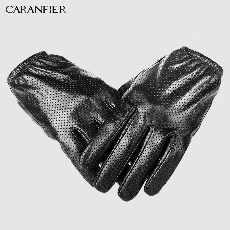 CARANFIER Genuine Leather Gloves Mens Winter Touch-screen Sheepskin Male Glove Breathable Mesh Driving Car Short Thin Men Gloves