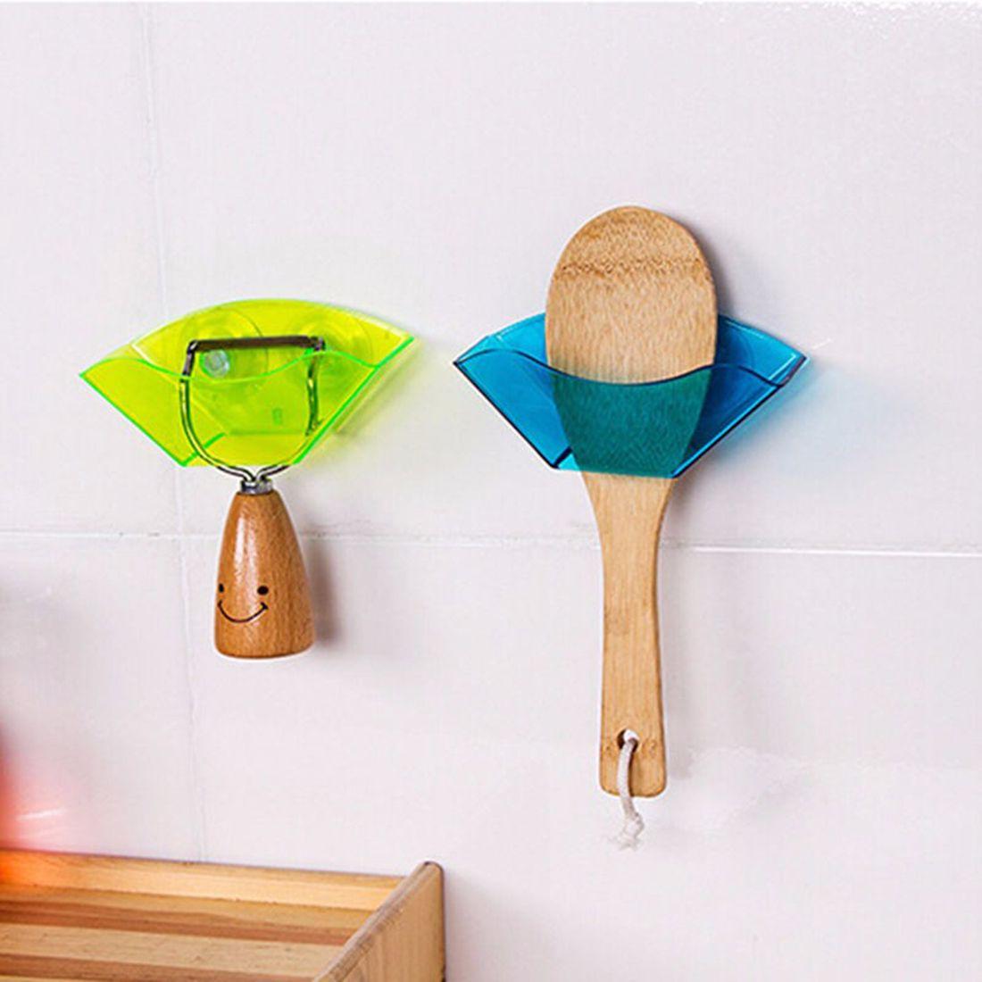 1pc Useful Double Suction Cup Sink Shelf Soap Dish Holder Sponge Drain Rack Kitchen Sucker Storage Tool Color Random