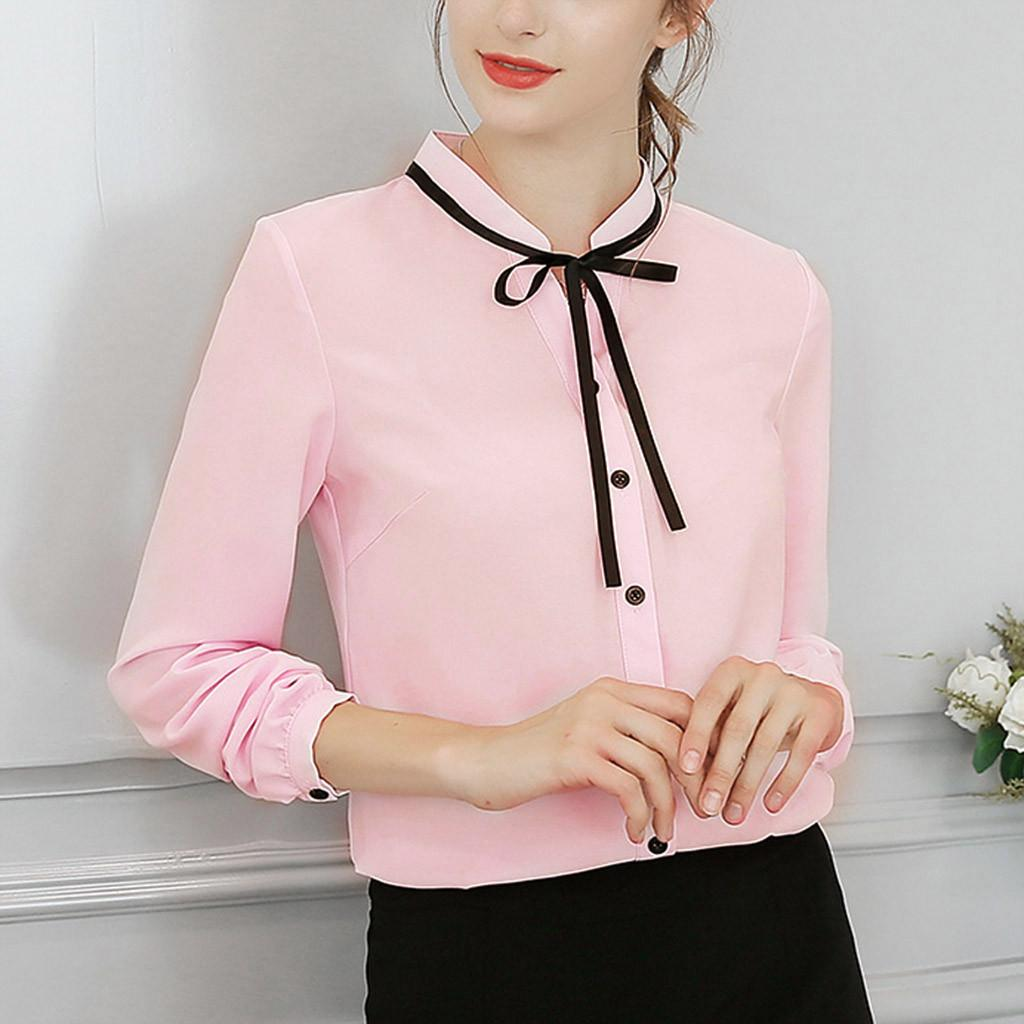 d3d4292bf888 2019 Women Work Office Long Sleeve Bow Tie Button Down Chiffon Blouse Shirt  Top Womens Tops And Blouses Shirt Women 2.5 From Biusec, $34.94 | DHgate.Com