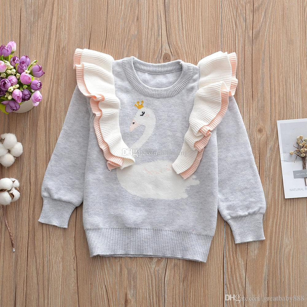 f0a51faa8b7b Kids Swan Sweatshirt Cotton Sweaters Children Girls Tops Long Sleeve ...