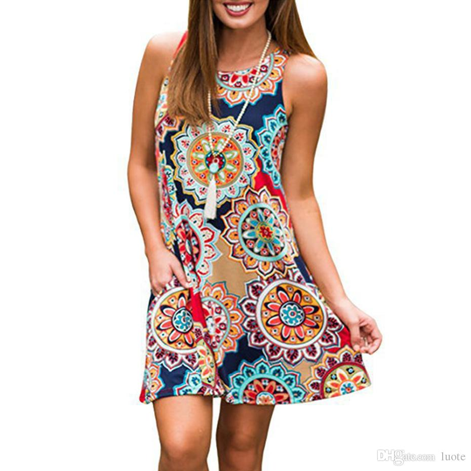 WUAI Womens Floral Tunic Dress Short Sleeveless Bohemian Swing Casual Midi Swing Dress with Side Pockets