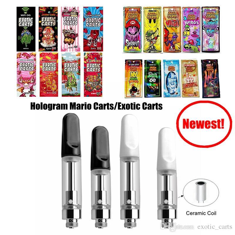 2019 Hologram Mario Exotic Carts 1ml Ceramic Vape Cartridge Thick Oil  Vaporizer Pen Empty Cartridges 510 Atomizers Electronic Cigarettes