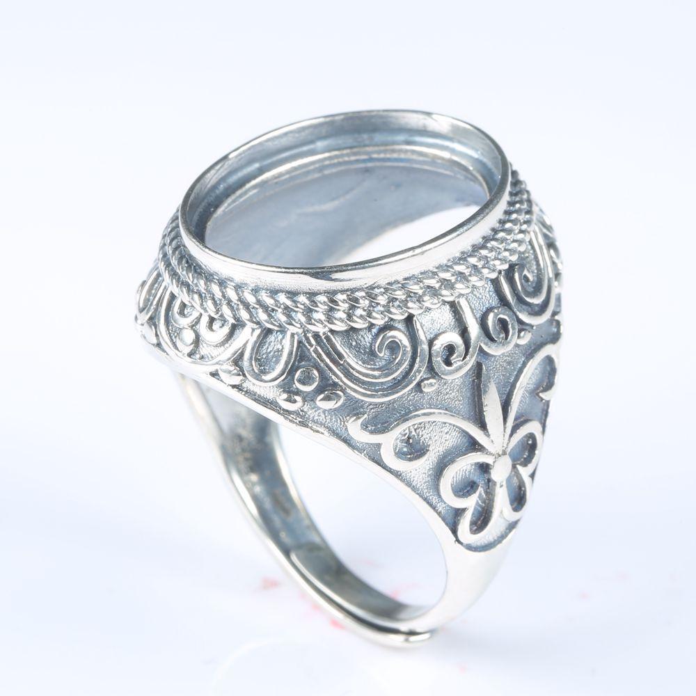c95edfc7ae Großhandel 925 Sterling Silber Männer Engagement Vintage Ring Art Deco  Hochzeit Halb Berg Ring Oval Cabochon 14x18mm Großhandel DIY Stein Von  Nectarine99, ...