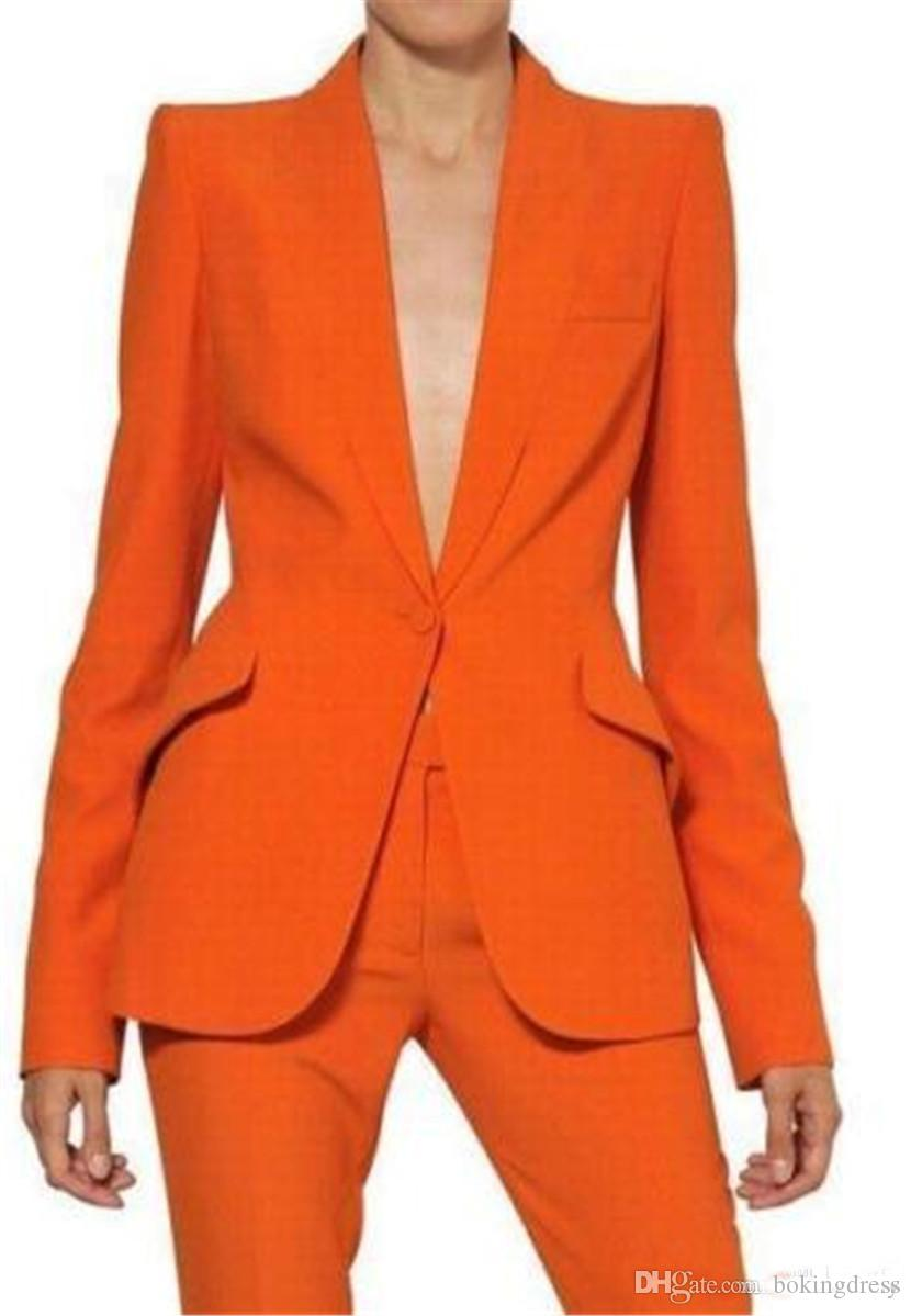 2019 Newest Bespoke Orange Womens Pant Suits Long Sleeves Ladies Business Office Slant Pockets Tuxedos Formal Work Wear Suits REAL IMAGE