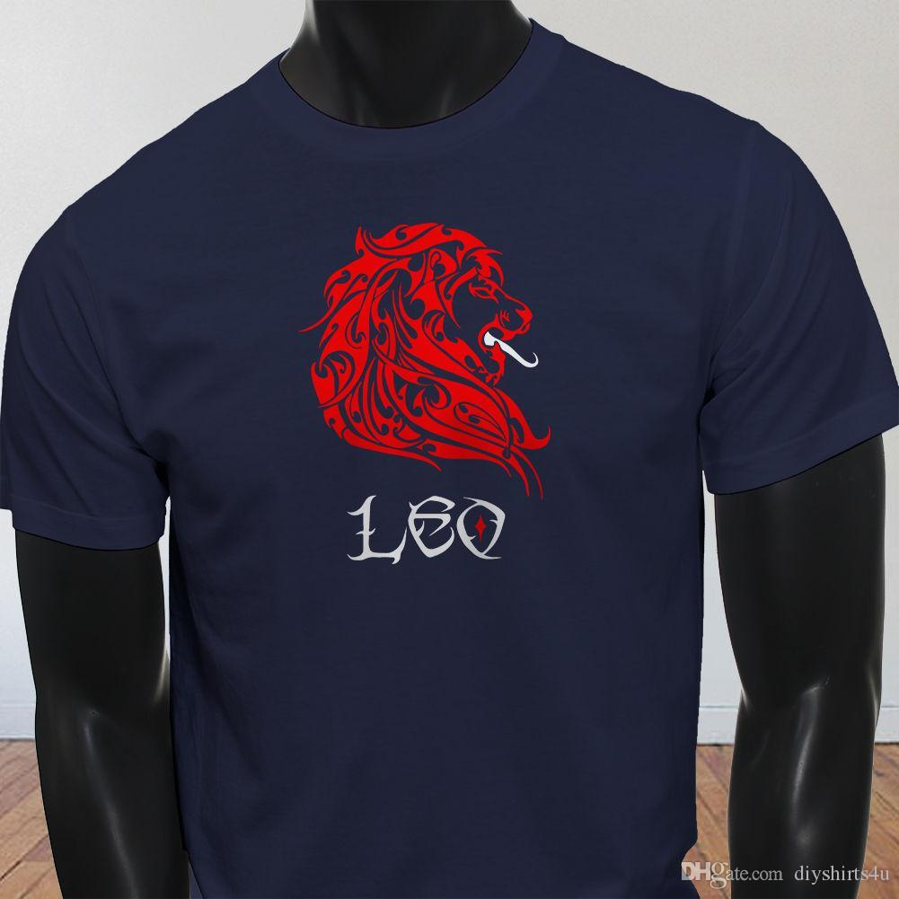 Corta Sun Fire Camiseta Horóscopo Signo Astrológico Marino Casual Cuello Leo Manga Lion Zodiaco Red Hombre Azul Hombres Redondo wn0kOP8X
