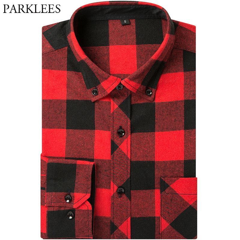 dc3ab882 Classic Buffalo Plaid Shirt Men Brand Long SLeeve Red Black Check Camisa  Masculina Business Casual Button Down Dress Shirts XXXL