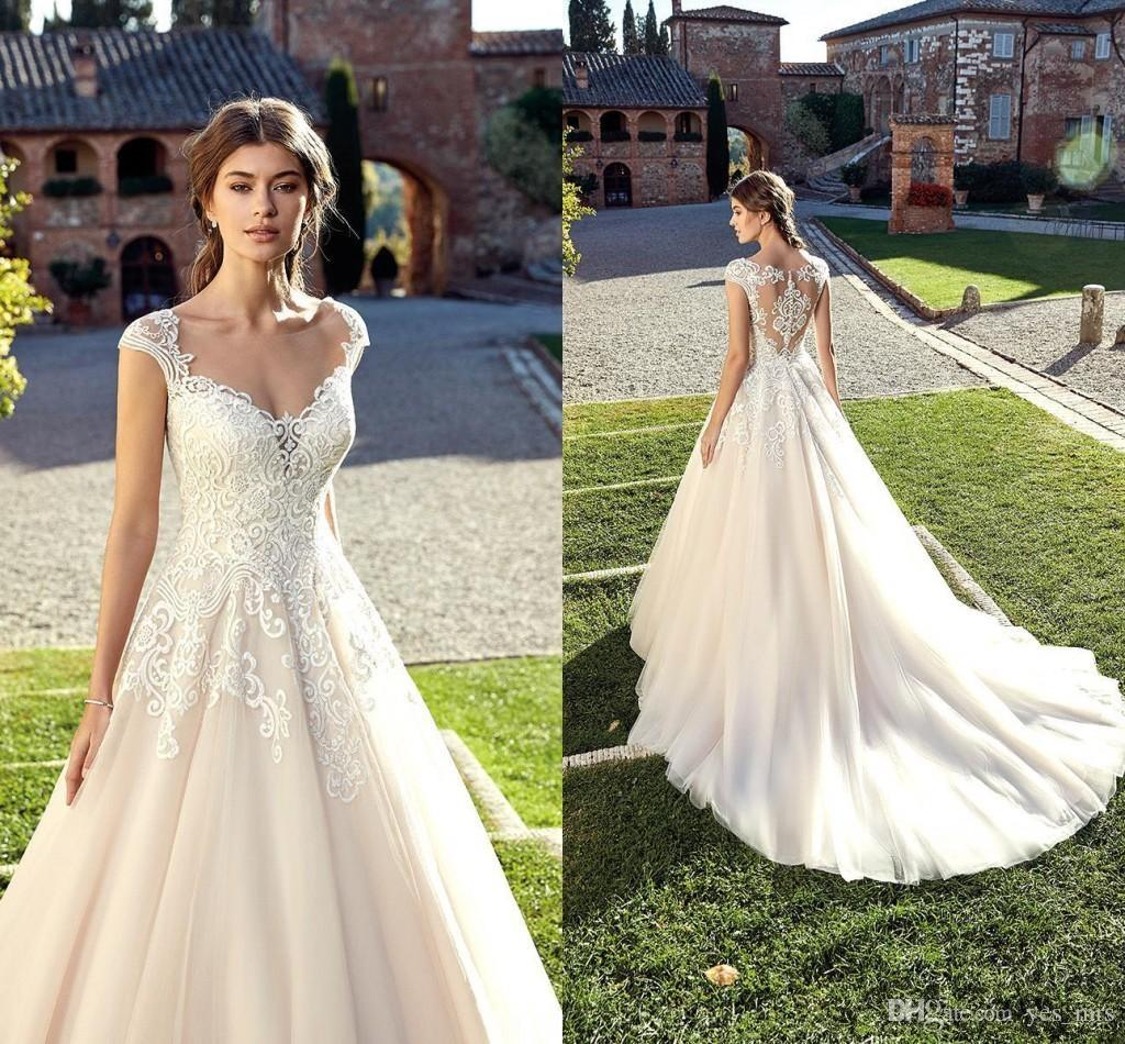 793e52a6 Discount Luxury A Line Wedding Dresses 2019 Cheap Sweetheart Cap Sleeves  Illusion Lace Appliques Backless With Button Long Plus Size Bridal Gowns  Muslim ...