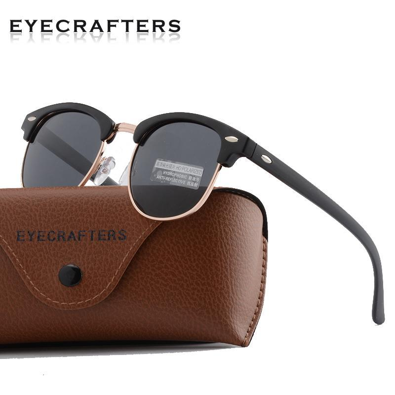 Compre Clássico Metade Polarizada Óculos De Sol Das Mulheres Dos Homens  Retro Semi Aro Sem Aro Rebite Polaroid Lente Design Da Marca Óculos De Sol  Oculos De ... 63358d2a36