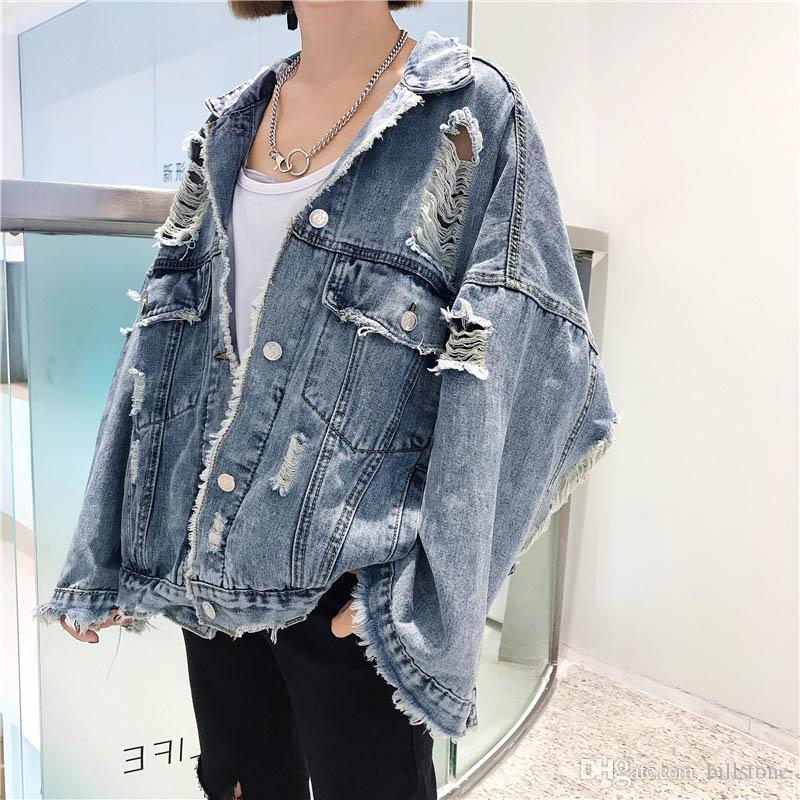 2018 Spring & Autumn Long Sleeve Outerwear Women'S Denim Jacket Jean Parka Coat Ripped Hole Pockets Oversize Female Clothing