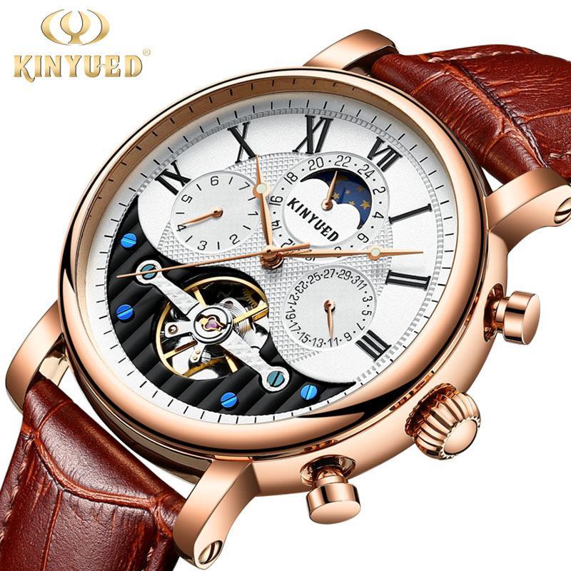 7555bc7ad8f13 Satın Al Kinyued Yaratıcı Otomatik Erkekler Saatler 2019 Lüks Marka Moon  Phase Erkek Mekanik İzle İskelet Gül Altın Horloges Mannen, $58.73    DHgate.Com'da