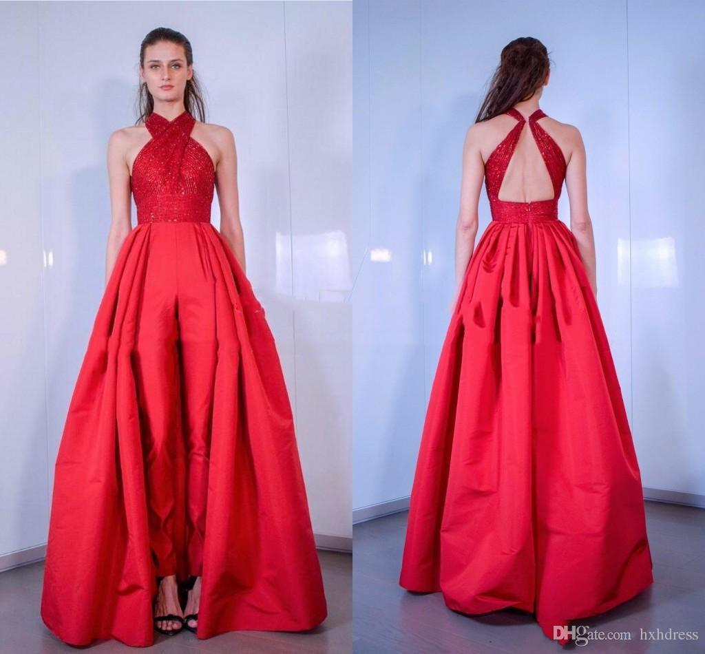 30d5457128 2019 New Hot Sell Red Jumpsuits Sequined Halter Neck Overskirts Evening  Dresses Sexy Backless Formal Party Gowns Custom Long Prom Dress Evening  Dresses Long ...