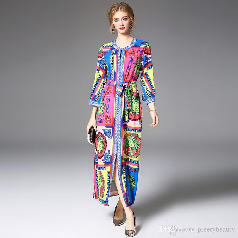d508eeb6a1 Compre Vestido Túnica Informal Estampado Floral Vestido De Gran División  Más Tamaño Ropa Colorido Abstracto Geométrico Vestido Suelto A  84.98 Del  ...
