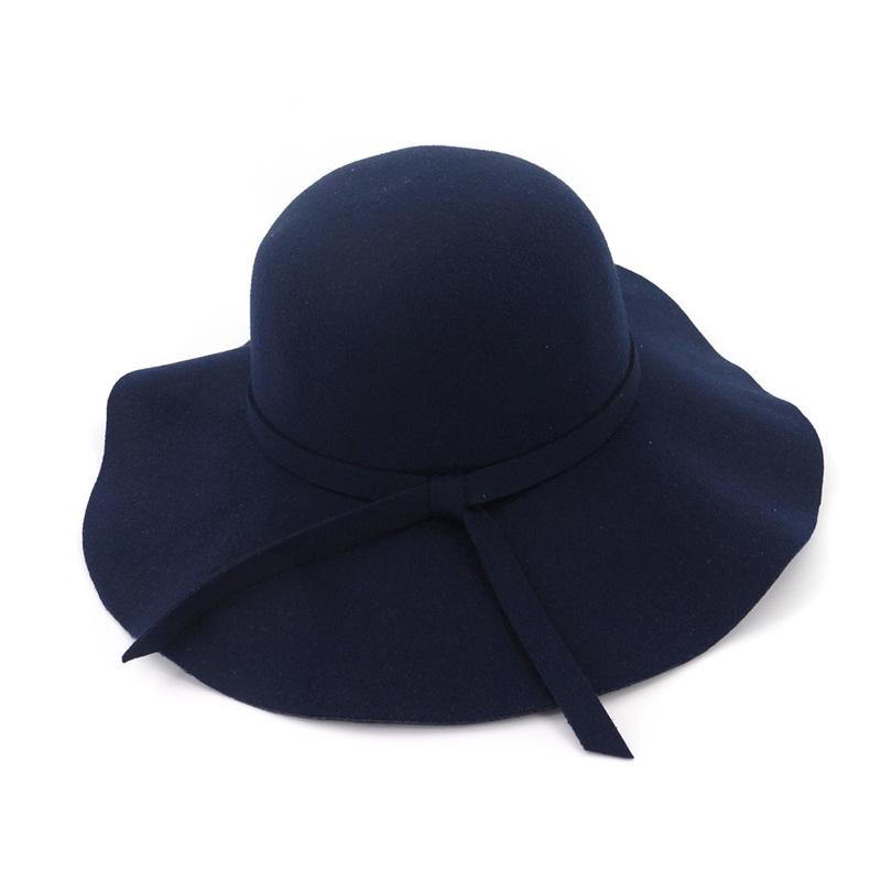 83239d15a8ad0a Fashion Women Lady Wide Brim Wool Felt Fedora Floppy Hats Vintage Female  Girl Round Fedoras Cloche Cap Trilby Bowler Hat Online with $9.84/Piece on  ...