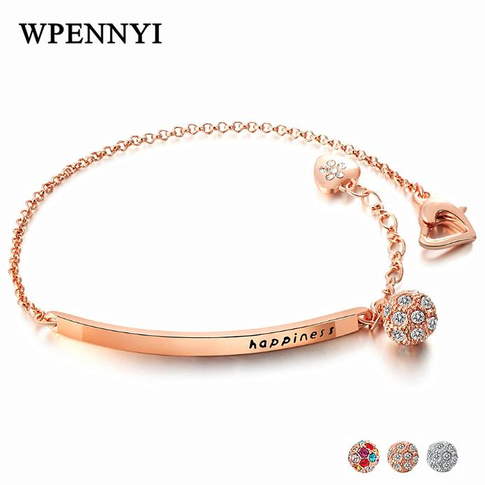 Lucky Ball Style Woman Fashion Bracelets Round Zirconia Crystal Happiness Letters Rose Gold Color Birthday Gifts Wholesale 3 Colors