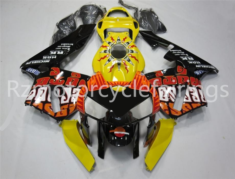 Hot Injection vendas moldagem Novos ABS motocicleta completa carenagem Kit Fit For CBR600RR F5 2005 2006 Carroçaria conjunto personalizado gratuito Preto Amarelo