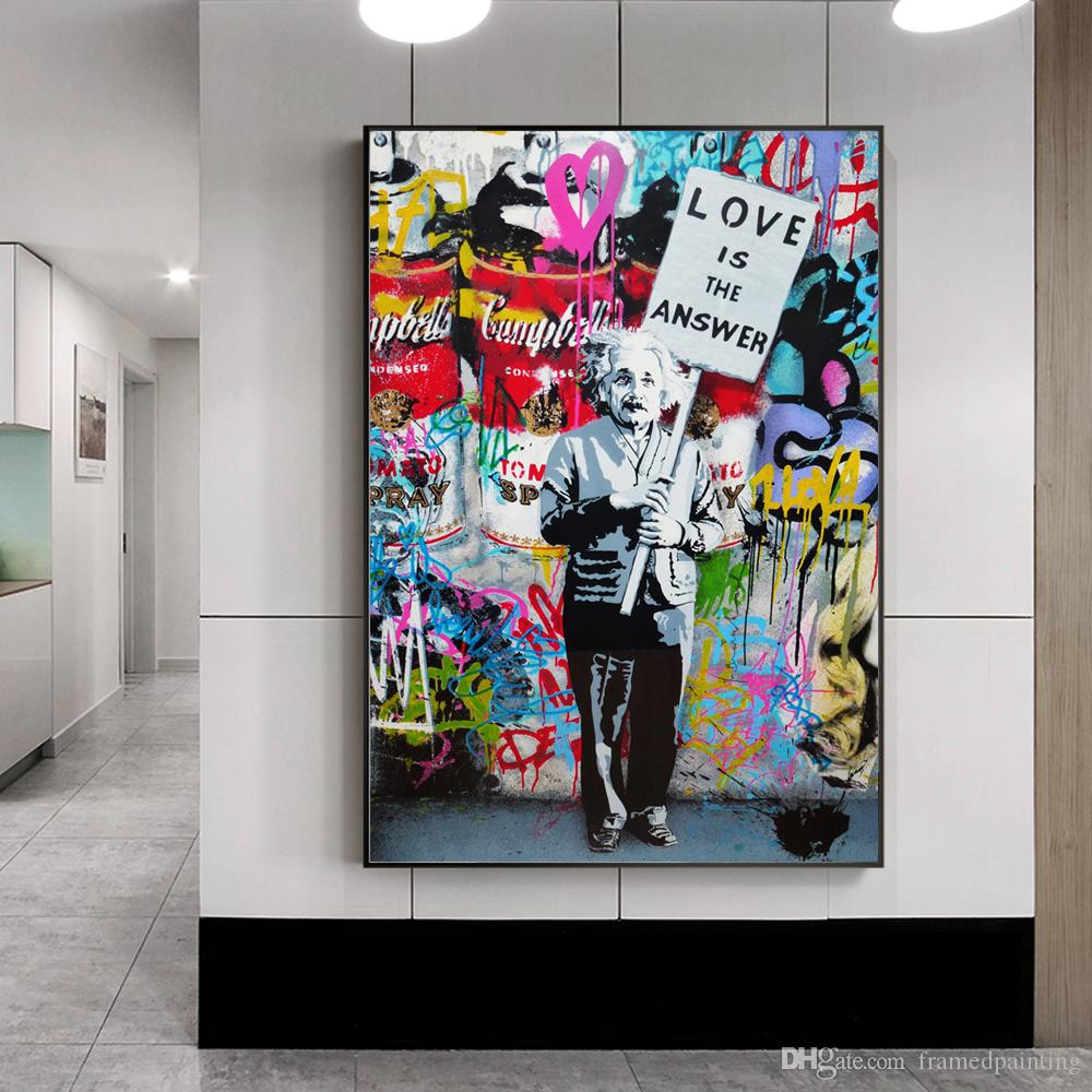 Modern pop graffiti wall art canvas love is the answer posters and prints einstein spray painting art pictures no frame uk 2019 from framedpainting
