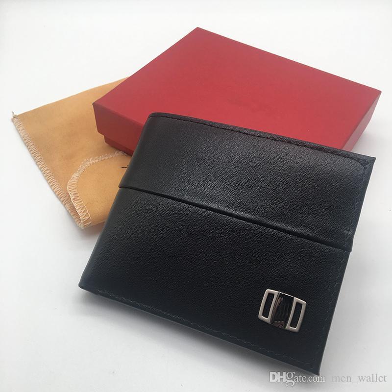 df35e7261 Luxury Men's Leather Wallet SF Short Clip Artisan Designer Card Pack  Business Card Holder Quality Hot Sale Credit Card Holder Dust Bag Box