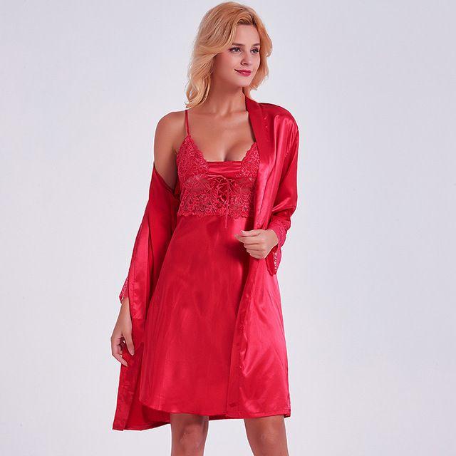 62902f71b Compre Mulheres Sexy Robe Camisola Set Red Satin De Seda Sleepwear 2 Peça  Vestido De Noite + Roupões De Quimono Noite De Vestir Vestido Feminino  Nightwear ...