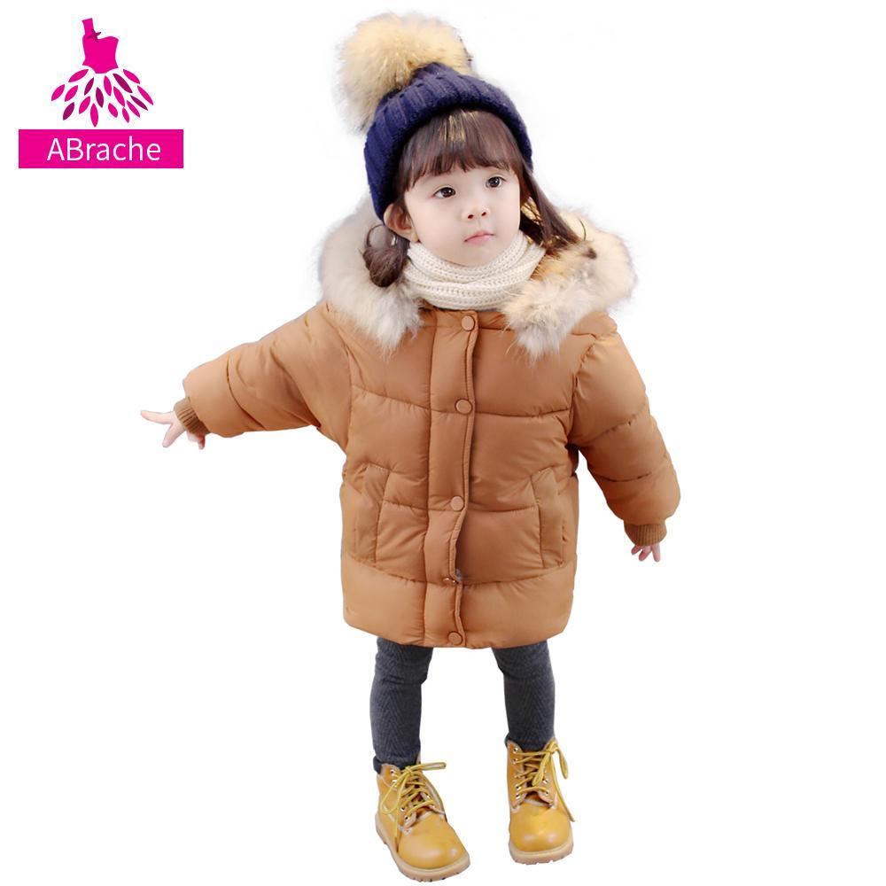 wholesale dealer e7c91 fa42d 3-8 Baby Mädchen Wintermantel Jacke Dicke Daunen Kinder Oberbekleidung Mit  Kapuze Mäntel Mode Kinder Mantel Kinder Warme Mädchen Kleidung