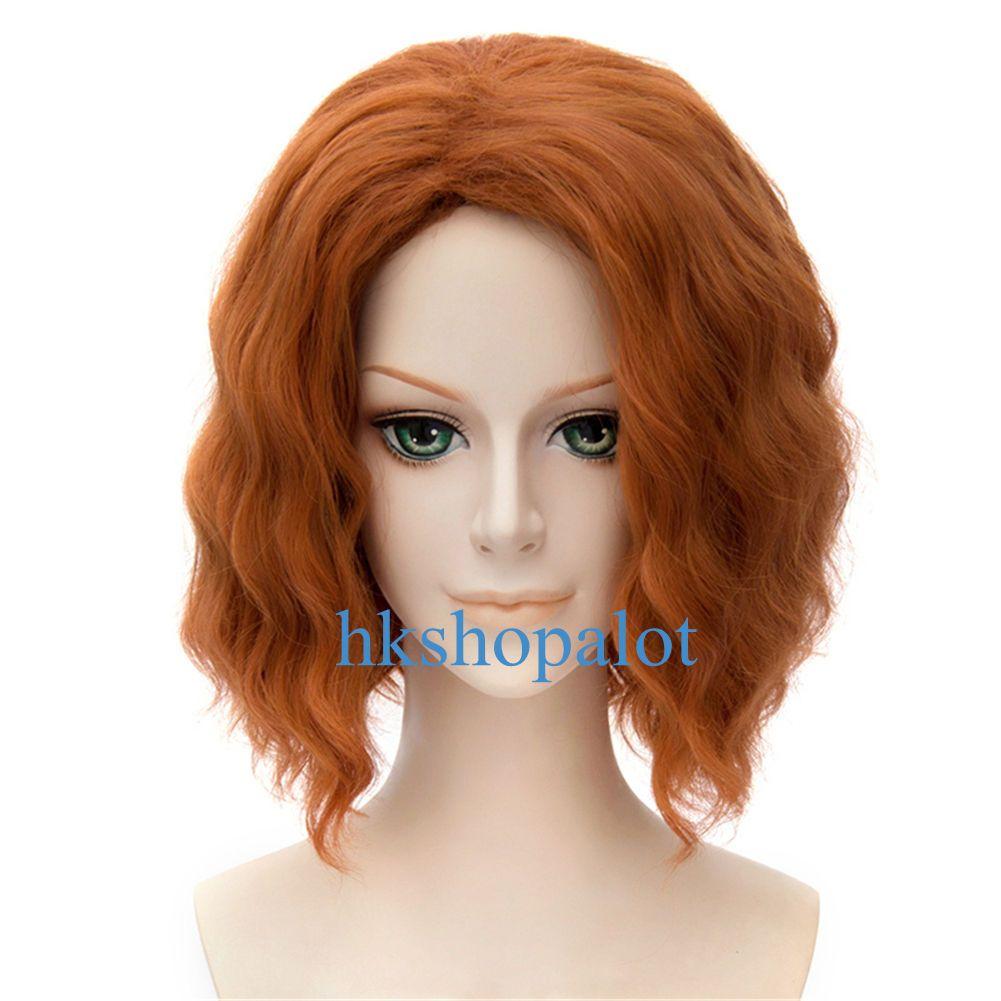short orange water loose wavy curly cosplay wig girl halloween