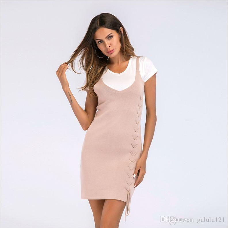 53dd77dd1e0 Women's Wear Knitted Strapless Dress in Europe And the U.S. Simple ...