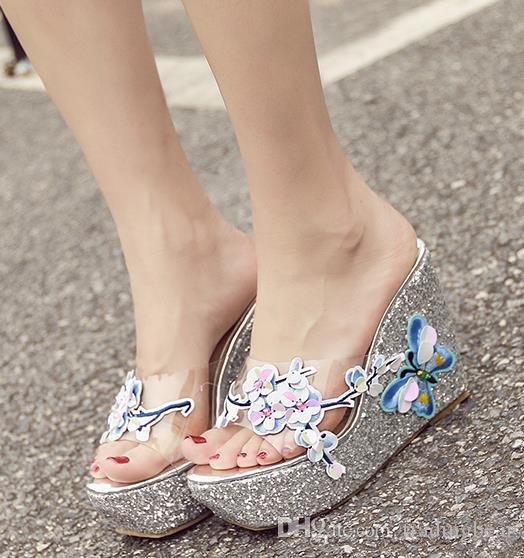 2019 ladies wedge sandals glitter pink silver butterfly slides fashion luxury designer women shoes size 34 to 40
