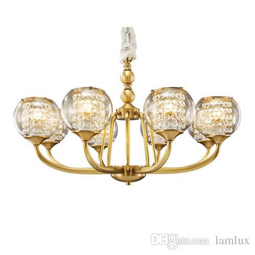 Lampade lampadario in rame stile europeo villa soggiorno lampadari camera  da letto sala da pranzo lampada a sospensione luci ristorante americano ...