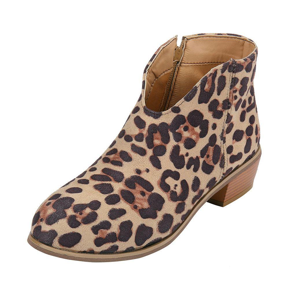 Compre Zapatos De Mujer Botines Con Estampado De Leopardo 2018 Nuevo Retro  Tacón Cuadrado Botas De Gamuza De Color Sólido Cremallera Zapatos De Punta  ... 12ee49c434ef