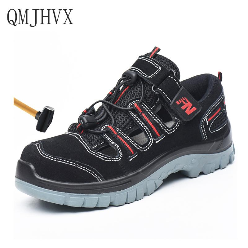 QMJHVX Men's Breathable Steel Toe Cap Work Safety Shoes Summer Deodorant sandals Men Outdoor Construction Labor Insurance Shoes