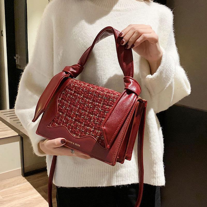 d81314030c57 Rope Knots Handlde Women Handbags Purse Wool Plaid Solid Crossbody Bags For  Women Shoulder Bags Pu Leather Small Flap Bag Girls Cheap Bags Cute Purses  From ...
