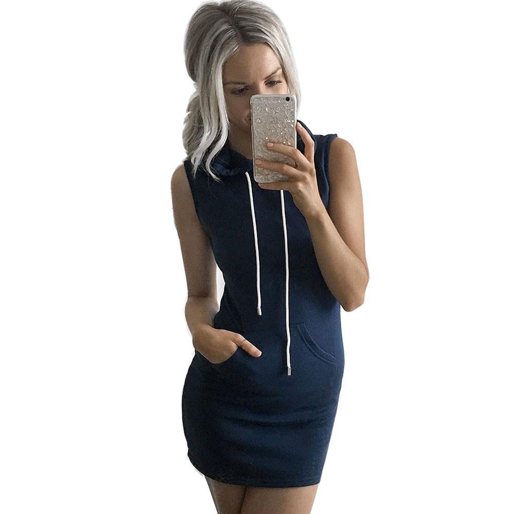 5a30fb2612d1 Acquista Elegante Mini Abito Estivo Con Cappuccio Casual Senza Maniche  Abito Da Donna Online Negozio Di Abbigliamento Grande Tasca Vestidos Prezzo  In ...