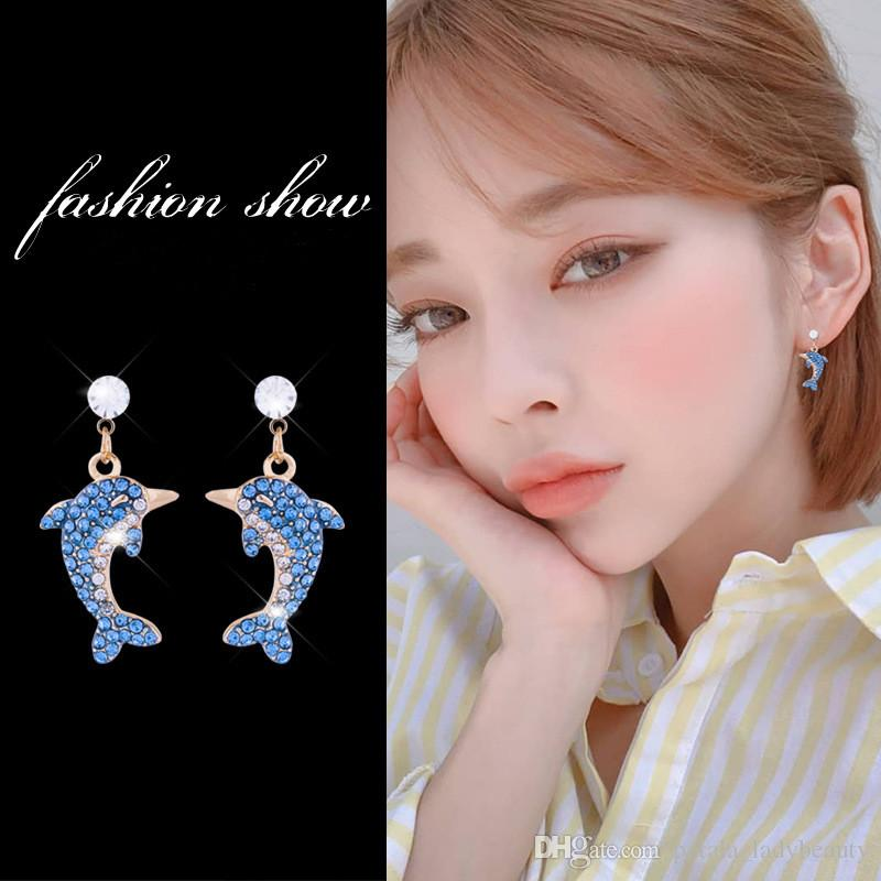 925 Silver Needle Fresh Sweet dolphin Stud Inlaid earrings Crystal Sky blue gradient diamond temperament Sen female earrings OL Lady Women
