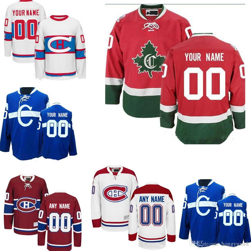 Custom Womens Youth Away Winter Classic Montreal Canadiens Third C White Blue Red Cualquier nombre Cualquier número Jerseys de hockey cosidos S-4XL