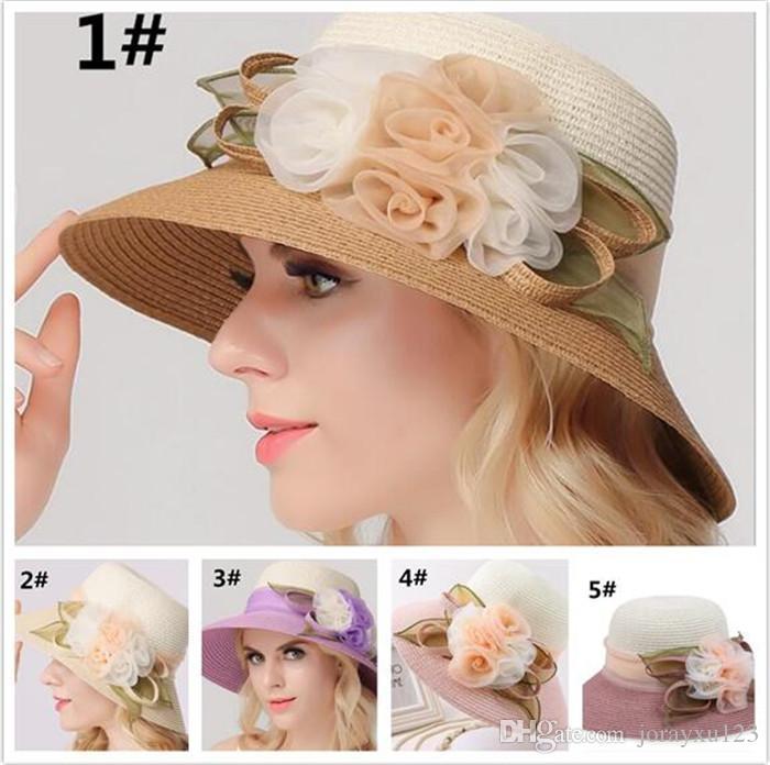 0f9568a7f6b Wide Brim Flower Hats Straw Hats Church Hats Floppy Beach Hat Fitted Hat  Wide Brim Summer Beach Hat J158 Beach Hats Sun Hats For Women From  Jorayxu123