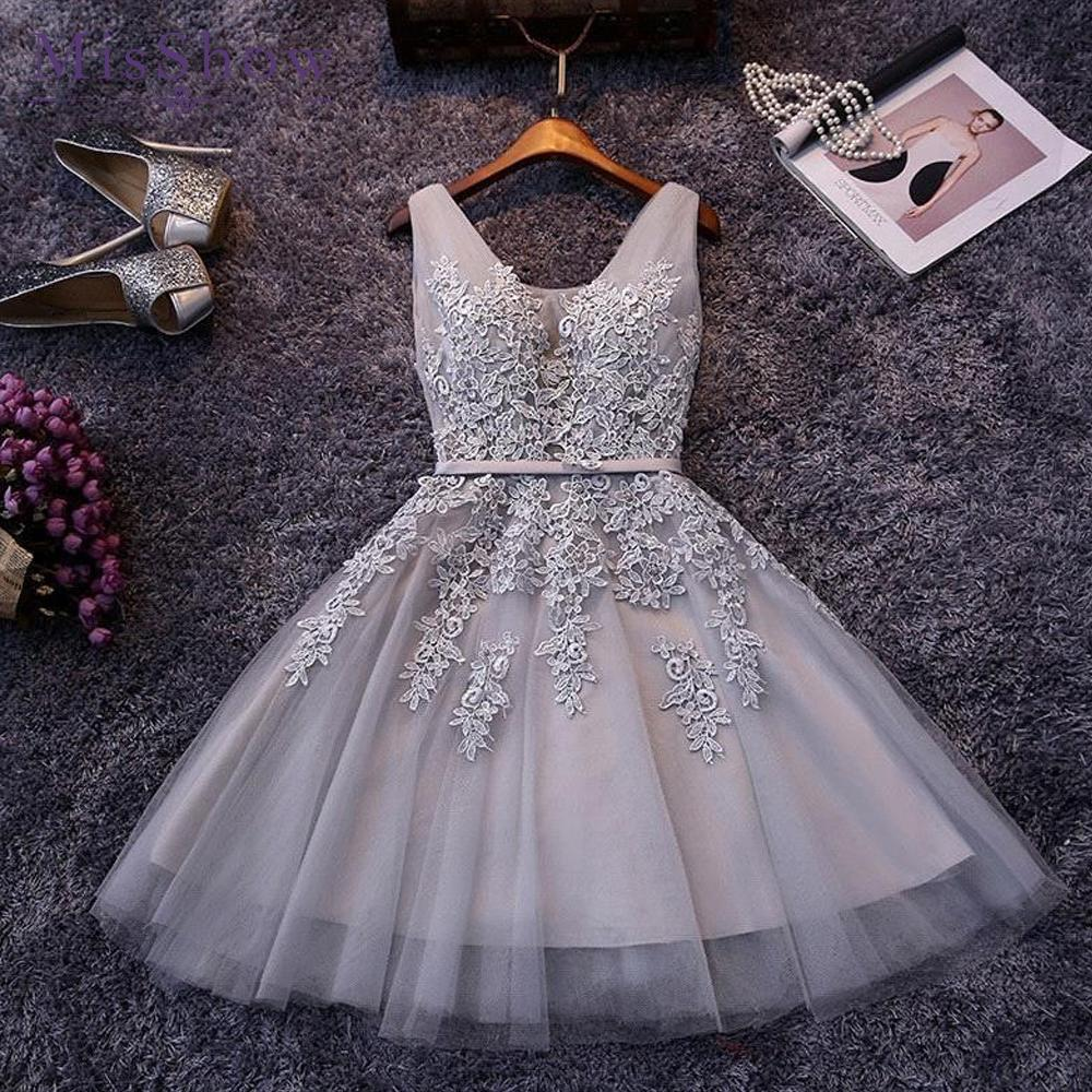 New Evening Dresses 2019 A Line Lace Appliques Lace Up Back V Neck Short Evening Dress Robe De Soiree Prom Gown Formal Dress Y19051401