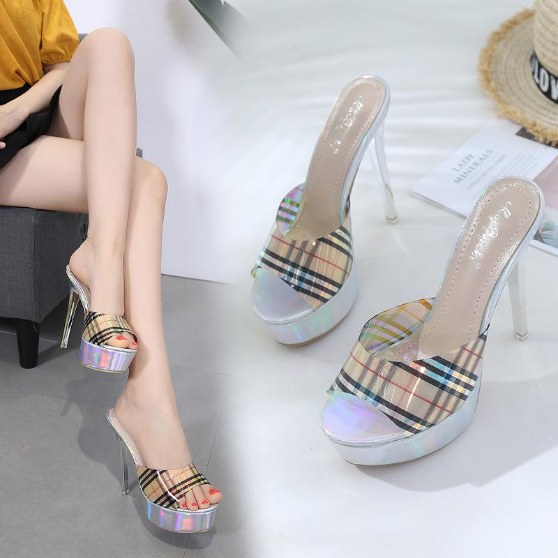 189d6f930c19 Shoes Women Slippers Slides New Platform Ladies Sandals Shoes Club Super  Sexy High Heeled14CM Female Slippers Grid Lazy Cheap Shoes For Women Buy  Shoes ...