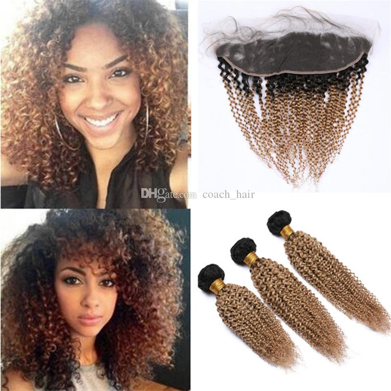 Kinkys Curly Ombre Honey Blonde Human Hair Bundles with Frontals 1B/27 Light Brown Ombre Virgin Hair Weave with Lace Frontal Closure
