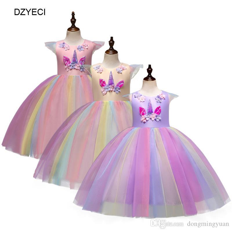buy online 27e47 38e1a Einhorn Kostüm Für Baby Mädchen Kleid Festliche Kind Brautjungfer Bogen  Spitze Party Kleid Karneval Kinder Cartoon Hochzeit Verkleidung Fancy  Elegant