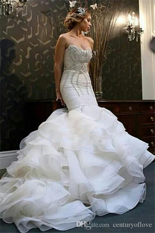Gorgeous Mermaid 2019 Wedding Dresses Sweetheart Beaded Backless Tiered Skirts Bohemian Bridal Gowns Plus Size Wedding Vestidos De Nnovia