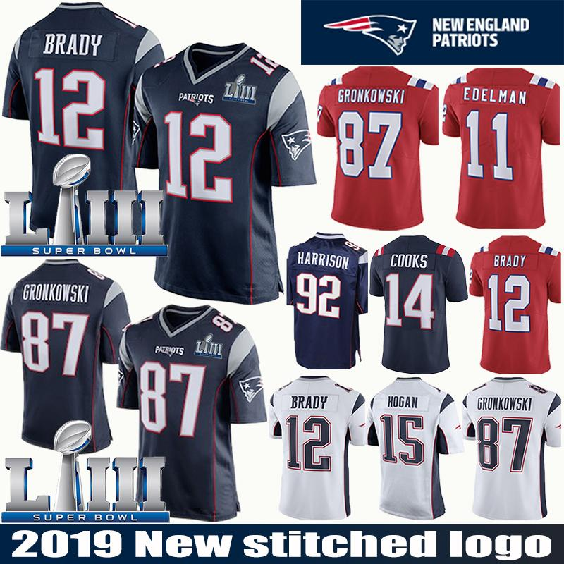 the latest be013 c5171 12 Tom Brady Patriots Jersey 87 Rob Gronkowski Super Bowl 11 Julian Edelman  15 Chris Hogan 92 Harrison 14 Brandin Cooks 80 Danny Amendola