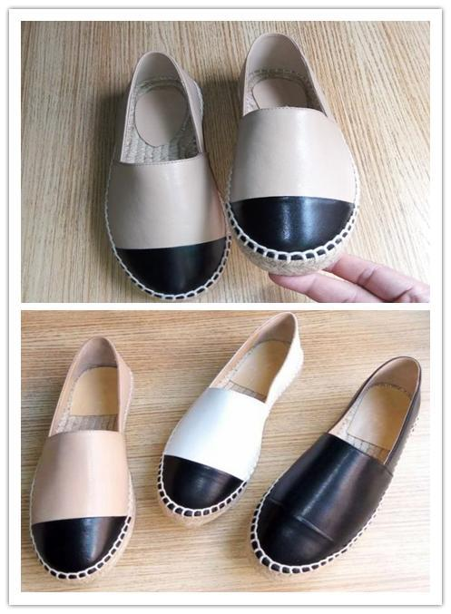 Top Quality Espadrilles Shoes Black Lambskin Cap Toe Espadrille Flats Black/White Leather Ladies Women Genuine Leather Designer Shoes a25